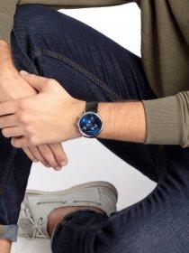 Armbanduhr, Lederband, Edelstahlgehäuse, Mineralglas