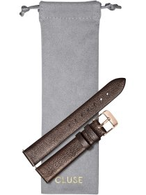 Strap 16 mm Leather, Chocolate Brown Metallic/ Rose