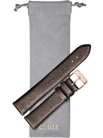 Strap 18 mm Leather, Chocolate Brown Metallic/ Rose