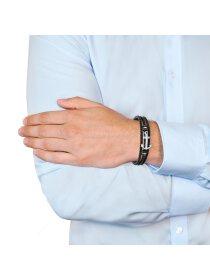 Herren Leder-Armband Anker, Edelstahl