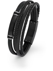 Herren Leder-Armband, Edelstahl