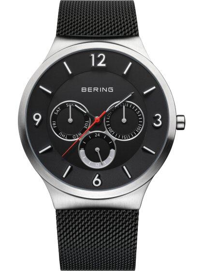 Multifunktionsuhr mit Milanaise Armband Schwarz
