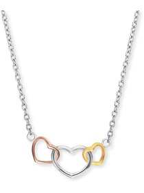 Ankerkettchen 3 Herzen Silber Tricolor