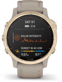 Garmin FENIX 6S PRO SOLAR m. silikon-armband 20mm, Beige