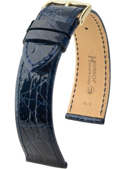 Genuine Croco M, blau glänzend, 14mm