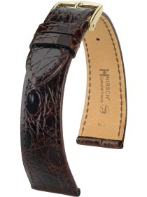 Genuine Croco L, braun glänzend, 18 mm