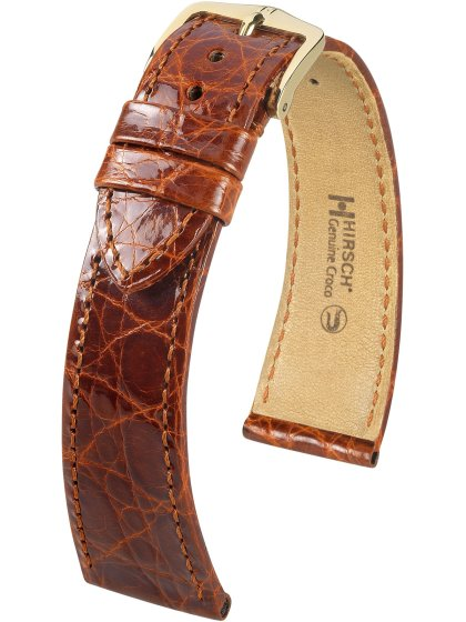 Genuine Croco, goldbraun glänzend, M, 16 mm