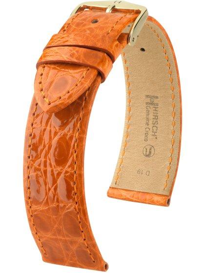 Genuine Croco M, orange glänzend, 18mm