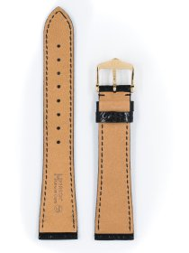 Genuine Croco M, schwarz glänzend, 12mm