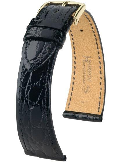 Genuine Croco M, schwarz glänzend, 15mm