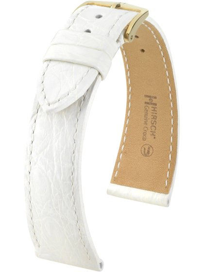 Genuine Croco L, weiß glänzend, 20mm